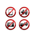 prohibition sign set on white background vector image