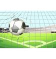 A ball hitting the soccer goal vector image vector image