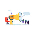 big megaphone and flat people characters vector image