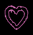 bright heart neon sign heart sign on black vector image vector image