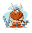 Cartoons Alphabet - Letter V with funny Viking vector image vector image
