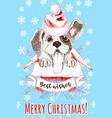 christmas and new year design card with happy dog vector image