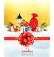 christmas presents with a garland and a gift vector image vector image