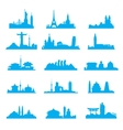 Cityscape with famous attractions silhouette set vector image vector image
