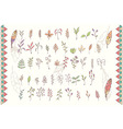 Collection of hand drawn flowers with feathers vector image vector image