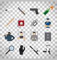 crime icons set on transparent background vector image