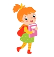 Cute girl go to school vector image