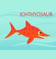 cute ichthyosaur swimming dinosaur life vector image vector image