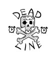 deadline skull and crossbones time management vector image