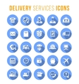 delivery and logistics services flat round web vector image