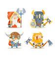 dwarfs warrior defender rune mage priest berserker vector image vector image