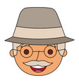 face old man profile avatar of the grandfather vector image vector image