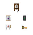 flat icon oneday set of clock whiteboard beer vector image vector image