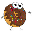 funny donut character with chocolate glazing and vector image