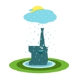 Funny Graphic Elephant and Rain vector image vector image