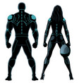 futuristic superhero couple on white vector image vector image