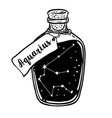glass bottle with zodiac aquarius constellation vector image vector image
