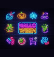 halloween neon icons set happy vector image