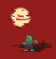 halloween zombies walking under the moon vector image