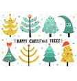 happy christmas trees collection cute isolated vector image