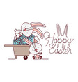 happy easter label with egg isolated icon vector image