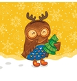 Happy owlet with tree vector image vector image