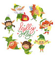 holly jolly christmas elves circle greeting card vector image