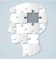 human face in the form of a puzzle with a gray mid vector image vector image