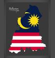 kelantan malaysia map with malaysian national flag vector image vector image