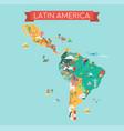 latin america map tourist and travel landmarks vector image