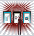 man stands in front three doors with graphs vector image vector image