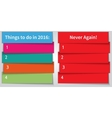 New Year Resolution multi color double List vector image vector image
