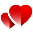 pair of hearts with shade - abstract design vector image