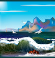 sea with waves and mountains vector image