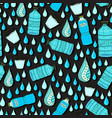 seamless pattern with water drops and bottles vector image vector image