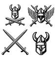 set emblem template with viking helmet crossed vector image vector image
