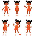 set of child little african american girl