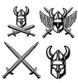 set of emblem template with viking helmet crossed vector image vector image