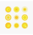 Set of yellow sun beams and flowers icons vector image
