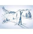 Ski background mountains in winter season vector image vector image