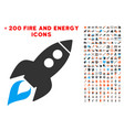 space rocket launch icon with bonus energy clipart vector image