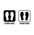 stand here distance social icon wait here feet vector image vector image