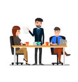 teamwork and communication between co-workers vector image vector image
