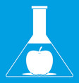 test flask with apple icon white vector image vector image
