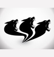 three heads wolf sign vector image vector image