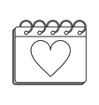 valentine day calendar love heart date outline vector image vector image
