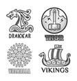 viking scandinavian ancient warriors labels set vector image