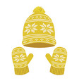 yellow knitted winter hat and gloves vector image vector image