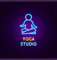 yoga studio neon label vector image
