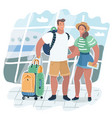 young couple traveling with travel bag vector image vector image
